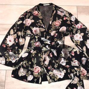 Alice and Olivia burnout floral kimono top XS